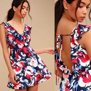 Lulu's Watch The Fireworks Floral Skater Dress